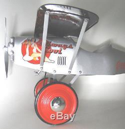 Air plane Pedal Car WW1 Silver Vintage Aircraft Rare Midget Metal Model