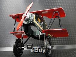 Air plane Pedal Car WW1 Vintage Red Two Wing Aircraft Rare Midget Metal Model