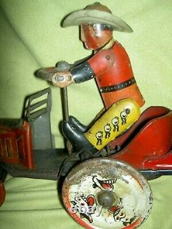 Antique 1920s MARX tin windup Cowboy Whoopee Car toy needs adjustment & cleaning