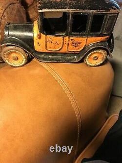 Antique Arcade Yellow Cab Cast Iron Vintage 1920s Original Paint Toy Taxi 8 Old