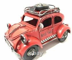 Antique Car Red N. Y. C Taxiyork Taxi Vintage Classic Cars Tin Objects Toys