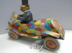 Antique Distler Uncle Wiggily´s Crazy Car. Tin Plate Germany from 1928
