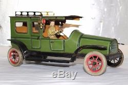Antique Germany GUNTHERMANN TAXI LIMOUSINE Tin Litho Wind Up Toy Car