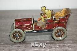 Antique Germany Tin Litho Toy HESS FLIRT RACE CAR Flywheel operated