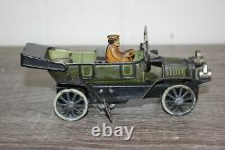 Antique Germany Tin Litho Wind Up Toy FISCHER OPEN WHEEL TOURER CAR
