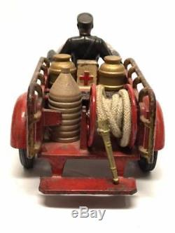 Antique Hubley Cast Iron Indian Crash Car Motorcycle