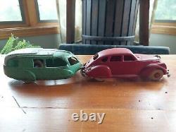 Antique Hubley Lincoln Zephyr Camper Cast Iron Toy Car Set