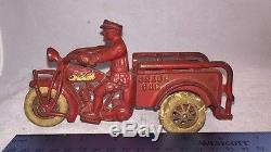 Antique Hurley Crash Car Cast Iron Toy Indian Motorcycles Red Nice