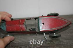 Antique Rare Wind Up Tin Litho Toy Paya Open Wheel Racer Car No Tippco