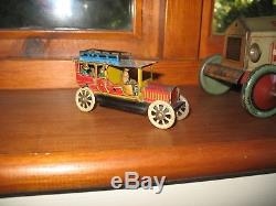 Antique Tin Penny Toy Limousine Car Flywheel Drive Tinplate Lovely Litho Design