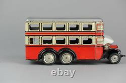 #Antique Tin Toy# Gunthermann Clockwork Double Decker bus Pre War Germany Car