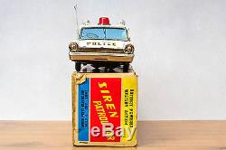 #Antique Tin Toy# Working Taiyo Japan 30cm Boxed 1963 Ford Galaxie Police Car