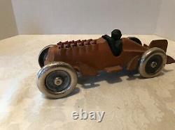 Antique Vintage Cast Iron Toy Race Car Moving Pistons Hubley Black man driver