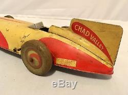 Antique Vintage Chad Valley Tin Plate Clockwork Land Speed Racing Car 10003