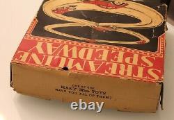 Antique Vintage Louis Marx Tin Wind Up Streamline Speedway Race Cars Track & Box