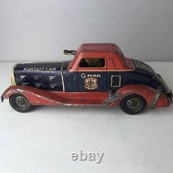 Antique Wind Up Louis Marx G-Man Pursuit Car Tin Metal