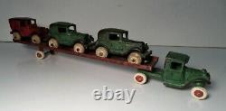 Arcade Iron Car Carrier Auto Hauler Transporter Truck Trailer with Austin Cars 14