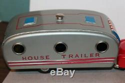 BEAUTIFUL VINTAGE 1950'S SSS TIN FRICTION CAR with HOUSE TRAILER in BOX