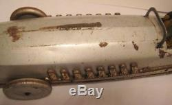 BIG Antique Tin Wind Up Toy Zeppelin Race Car 26 Land Speed Racer 1925 Rare