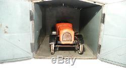 Bing Cabriolet 1920 Prewar Tin Wind-up Car Germany & Orig. Bing Garage Prewar