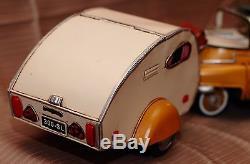 BMW ISETTA + TRAILER tin toy tinplate car blechmodell auto voiture tole handmade
