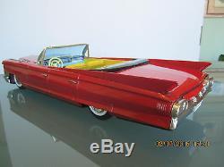 Bandai 1963 Cadillac Convert Japan Tin Friction Toy Car 17-inches All Original