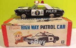 Bandai vintage tin Highway Patrol Car with original Box 1970 Japan excellent