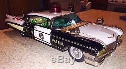 Big VTG Yonezawa Tin 1960 Cadillac Tin Police Car-Battery 18EX! SCARCE
