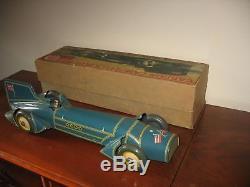 Boxed Gunthermann Blue Bird Clockwork Tinplate Car Germany HUGE Tin Toy Bluebird