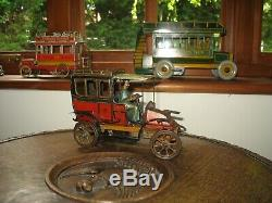 CHARLES ROSSIGNOL CAR TIN LIMOUSINE 1900s FRANCE WIND UP TINPLATE ANTIQUE TOY CR