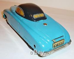 CKO KELLERMANN Germany Tin Wind-up 1950s CABRIO SUPER FLIP TOP CAR with BOX 9