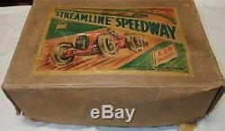 Circa 1930s mechanical toy race car set by Marx in original box