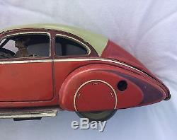 Early Tin Toy Car With Driver Windup With Working Headlights Must See Nr