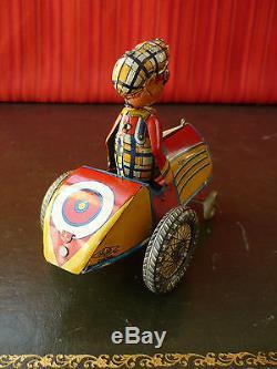 Extr. Rare 1930s INGAP Padova Italy Tin Wind-up Comic Car Auto Impazzita Distler