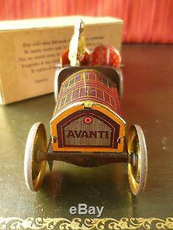 Extr. Rare N. Mint 1908 HESS Tin Friction Flywheel AVANTI Peking-Paris Race Car