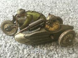 Extremely Rare German Tinplate Motorcycle & Side Car with machine gun 1940's