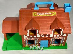 FISHER PRICE Vintage PLAY FAMILY TUDOR DOLL HOUSE 1969/1980 CAR FIGURES DOG TOY