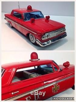 Fire Chief Vintage Chevrolet Friction tin toy Car by Bandai made in Japan