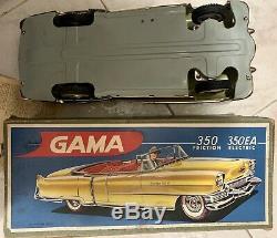 GAMA CADILLAC 350EA ELECTRIC Tin Convertible Car LIGHT YELLOW Germany 1950s
