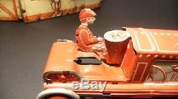 GELY 1920 (Georg Levy) ANTIQUE TIN RACE CAR & ORIG. RACE GARAGE 1920's