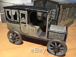 Germany 1930 Bing Wind Up Tin Toy Car & Garage Works Great Very Rare Makes Turns