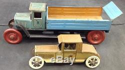 Georg Fischer Tin Dump Truck & Tin Toy Saloon Car & Driver in GOOD CONDITION NR