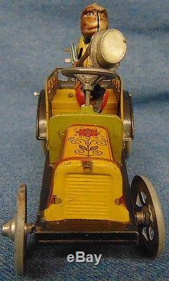 German Distler Tin Motion Monkey Driving Automobile Car Waving Hat Clean! Works