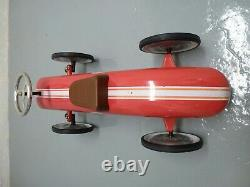 Gorgeous Vintage Red metal traditional toy sit on ride on classic racing car