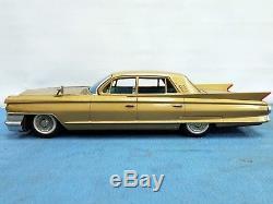 Great Old Tin Friction Toy Car Huge 17 Gold Cadillac Bandai Japan 1961 Rare