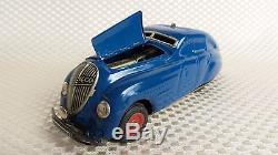 Great Vintage Schuco Kommando 2000 BLUE Wind-Up Toy Car /w Original Box Germany