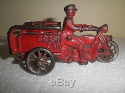 Great old original cast iron Motorcycle Crash Car by Hubley c. 1920's
