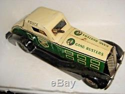 HIGH GRADE MARX GANG BUSTERS TIN WIND UP ANTIQUE TOY CAR Complete Works Sparks