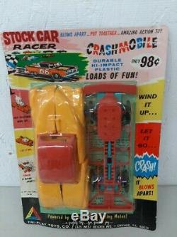 HTF 1960's Tri-Play Toys Stock Car Crashmobile 7 Wind Up Blow Apart Car MOC New