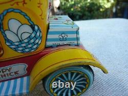 Happy Chick 1957 Vtg Tin Litho, Friction Car Yonezawa, Japan Works Good